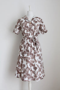 VINTAGE PAISLEY PRINT WHITE BROWN TIE WAIST DRESS - SIZE 14