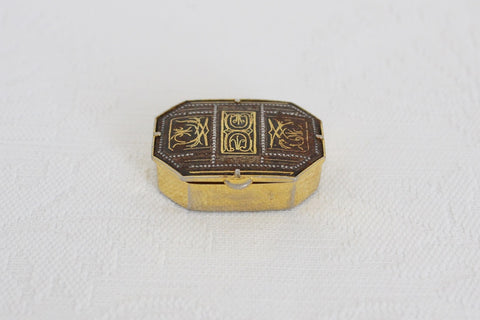 VINTAGE NIELLO INLAY GOLD TONE PILL BOX