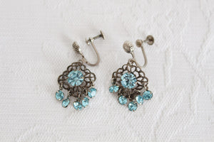 VINTAGE BLUE RHINESTONE SILVER TONE SCREW BACK EARRINGS