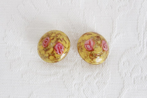 VINTAGE HAND BLOWN GLASS FLOWER CLIP-ON EARRINGS