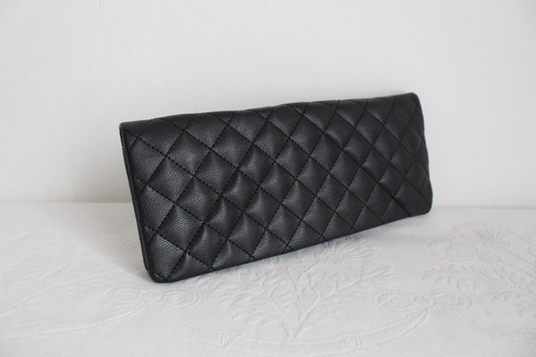 WOOLWORTHS BLACK QUILTED CLUTCH BAG