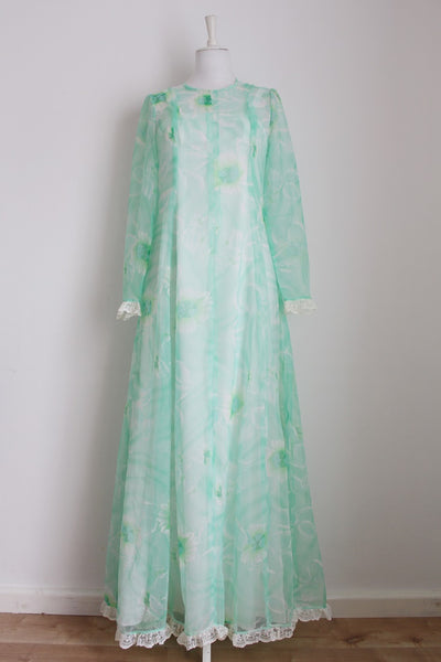 VINTAGE GREEN FLORAL PRINT LONG SLEEVE MAXI DRESS - SIZE 10