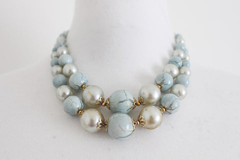 VINTAGE BLUE SILVER FAUX PEARL TWO STRAND NECKLACE