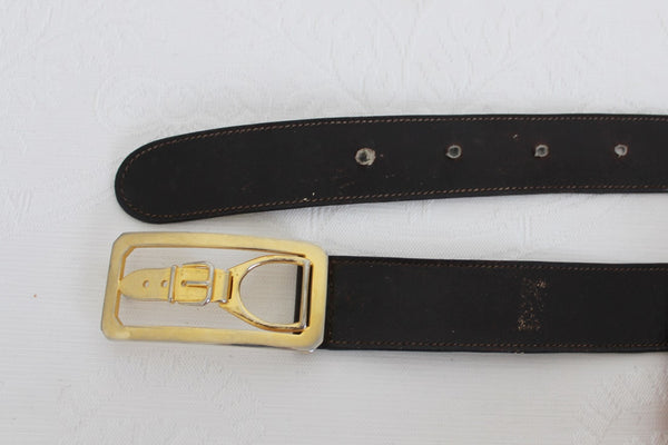 VINTAGE GENUINE LEATHER STIRRUP BUCKLE BROWN BELT