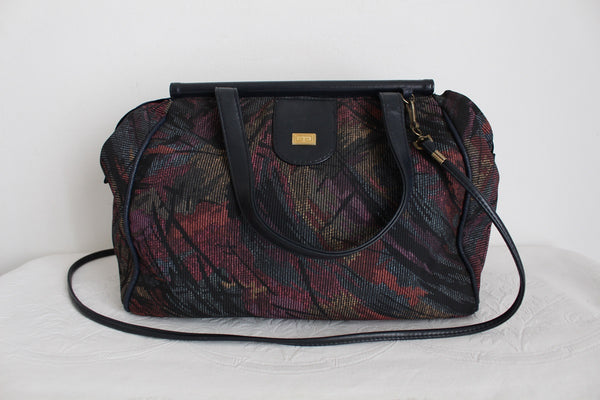 VINTAGE TAPESTRY FABRIC NAVY DOCTORS BAG