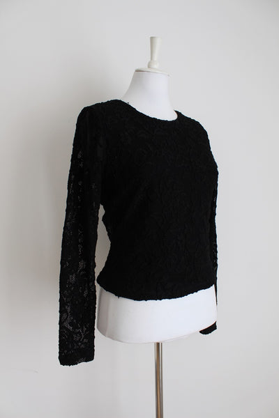 VINTAGE STYLE LACE SHEER BLACK TOP - SIZE M