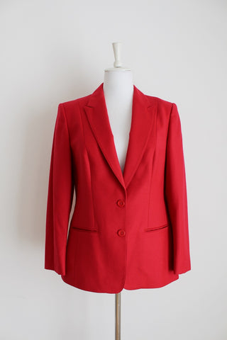 WOOL VINTAGE RED FITTED BLAZER - SIZE 12