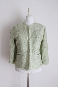 VINTAGE CHANEL STYLE PASTEL GREEN JACKET - SIZE 14