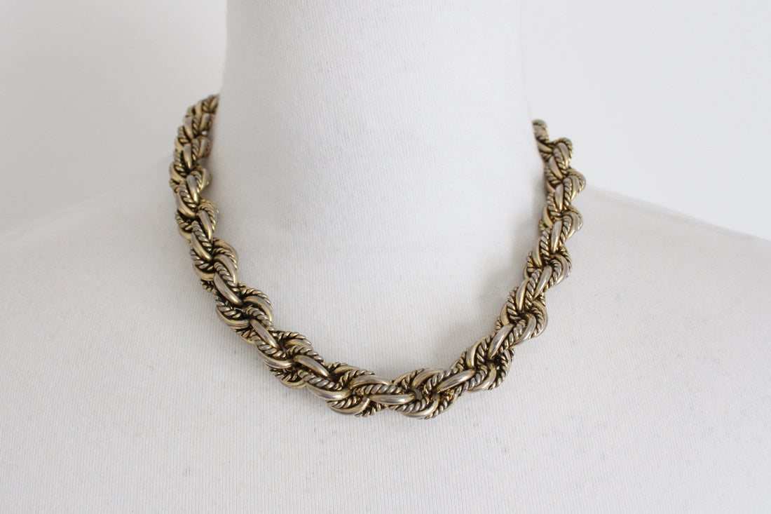 VINTAGE CHUNKY WOVEN GOLD TONE CHAIN NECKLACE