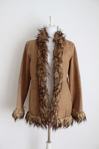*GENUINE SUEDE LEATHER* BROWN FAUX FUR COLLAR JACKET - SIZE 10