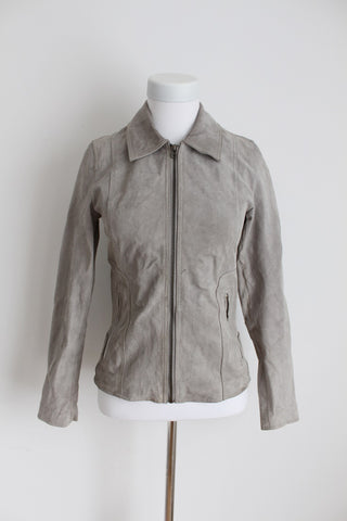 POETRY *GENUINE SUEDE LEATHER* GREY ZIP JACKET - SIZE XS