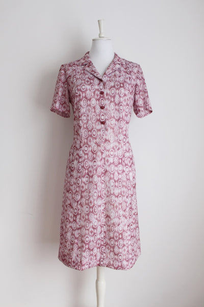 VINTAGE PINK WHITE PRINTED SHIFT DAY DRESS - SIZE 12