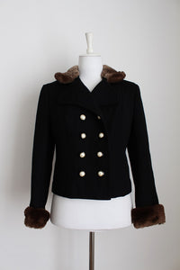VINTAGE FUR COLLAR WOOL BLACK DOUBLE BREASTED JACKET - SIZE 12