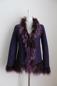MOHAIR TRIM PURPLE FAUX SUEDE QUILTED JACKET - SIZE 12