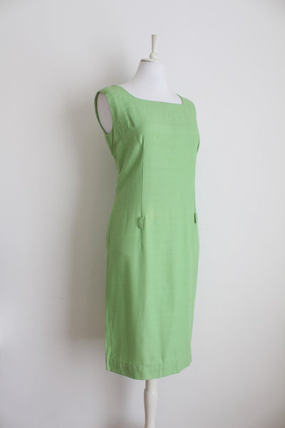 VINTAGE GREEN TAILORED SLEEVELESS SHIFT DRESS - SIZE 12