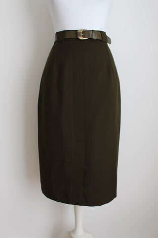 VINTAGE ARMY GREEN BELTED PENCIL SKIRT - SIZE 8