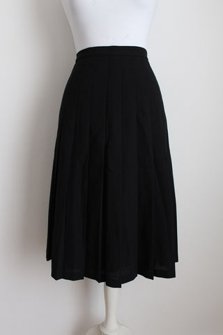 VINTAGE WOOL BLACK PLEATED SKIRT- SIZE 14