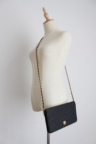 VINTAGE QUILTED SATIN CHAIN SLING BAG