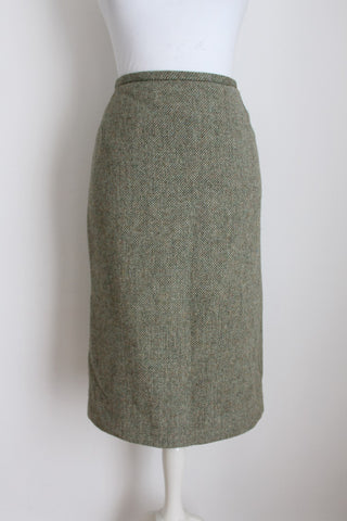 VINTAGE TWEED WOOL GREEN PENCIL SKIRT - SIZE 8