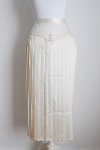 VINTAGE SATIN PLEATED CREAM SKIRT - SIZE 6