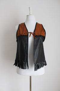 GENUINE LEATHER VINTAGE BLACK BROWN FRINGED WAISTCOAT - SIZE S