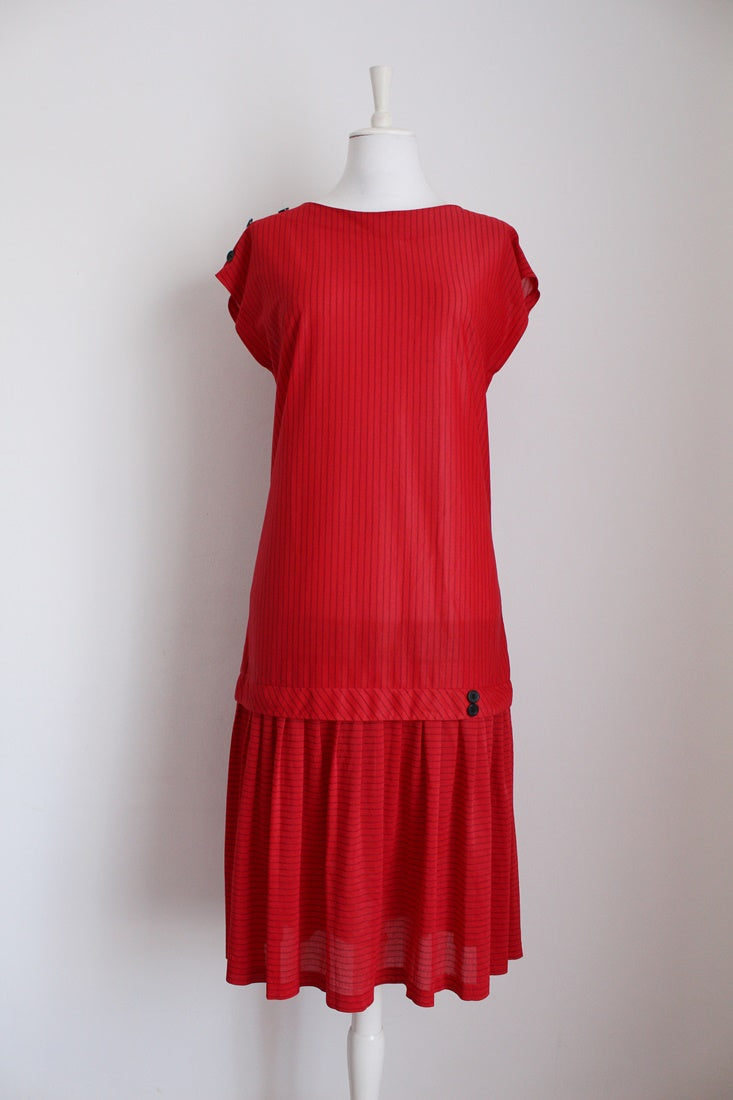 VINTAGE PINSTRIPE RED BLACK DROP WAIST DRESS - SIZE 12