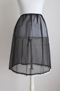 VINTAGE BLACK SHEER BRODERIE ANGLAISE PETTICOAT SKIRT - SIZE M