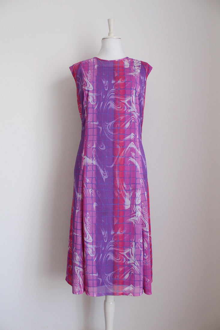 VINTAGE PINK PURPLE ABSTRACT PRINT DRESS - SIZE 16