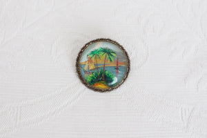 STERLING SILVER HAND PAINTED VINTAGE BROOCH