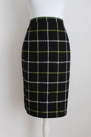 VINTAGE BLACK CHECK PLAID PENCIL SKIRT - SIZE 12