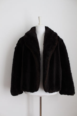 FAUX FUR VINTAGE BROWN COAT JACKET - SIZE L