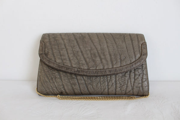 *GENUINE BUFFALO SKIN* VINTAGE LEATHER GREY BAG