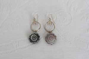 STERLING SILVER MOTHER OF PEARL FLOWER EARRINGS