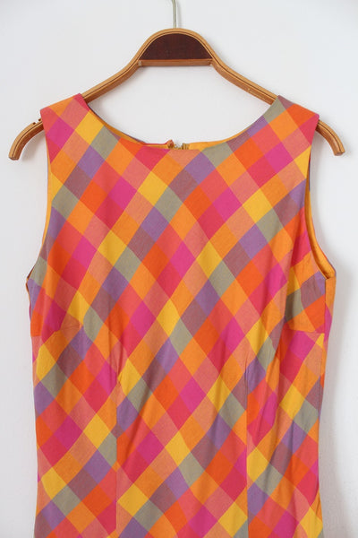 VINTAGE MULTICOLOUR PLAID CHECK SHIFT DRESS - SIZE 6