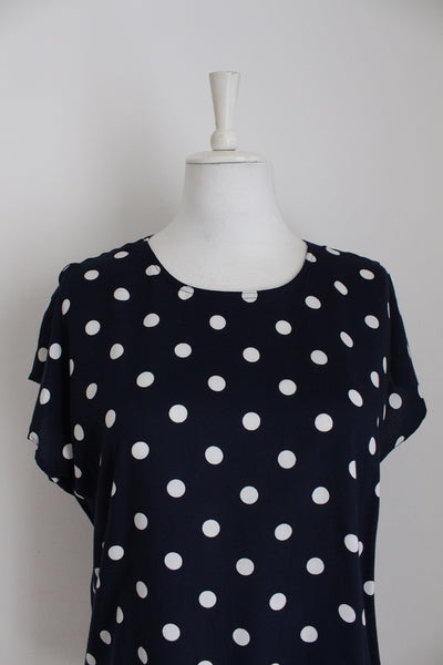 VINTAGE POLKA DOT NAVY WHITE TOP - SIZE 12