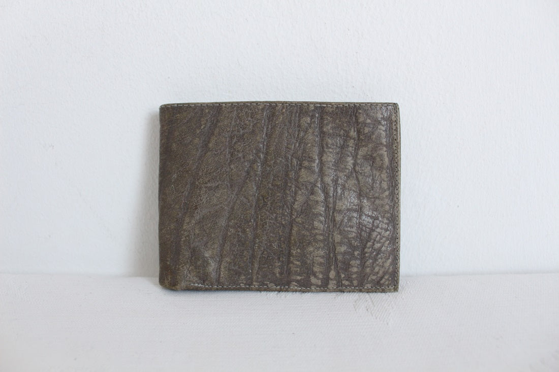 *GENUINE BUFFALO SKIN* VINTAGE GREY LEATHER MENS WALLET