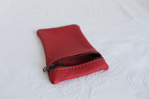 GENUINE LEATHER RED ZIP POUCH