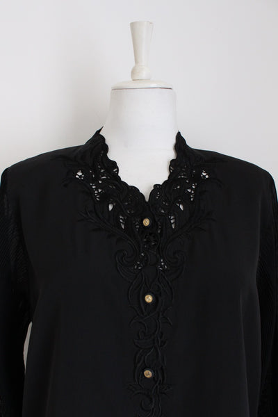 VINTAGE BLACK EMBROIDERY PLEATED SLEEVES BLOUSE - SIZE 14