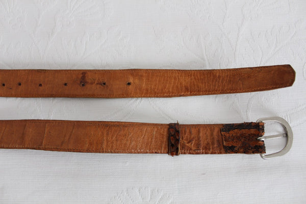 *GENUINE SNAKE SKIN* VINTAGE LEATHER BROWN BELT