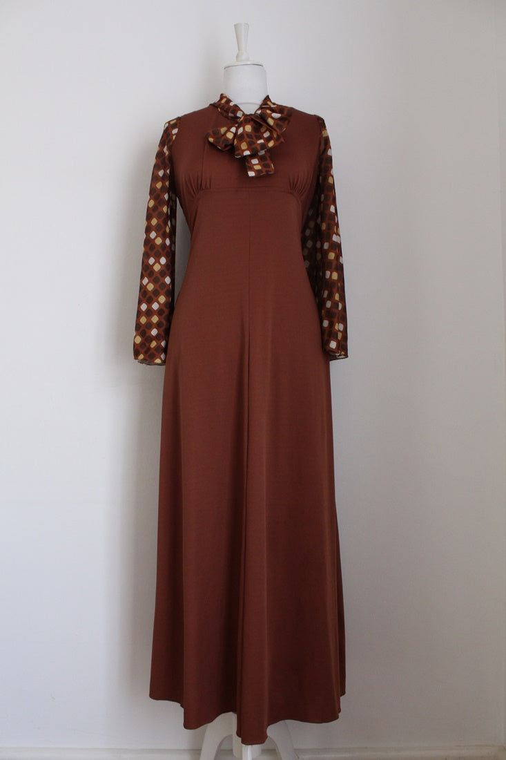 VINTAGE PUSSYBOW TIE BROWN MAXI DRESS - SIZE 10