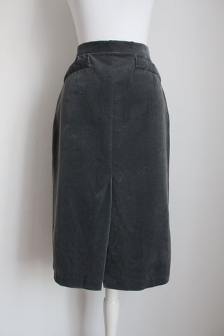 VINTAGE VELVET GREY FITTED PENCIL SKIRT - SIZE 6