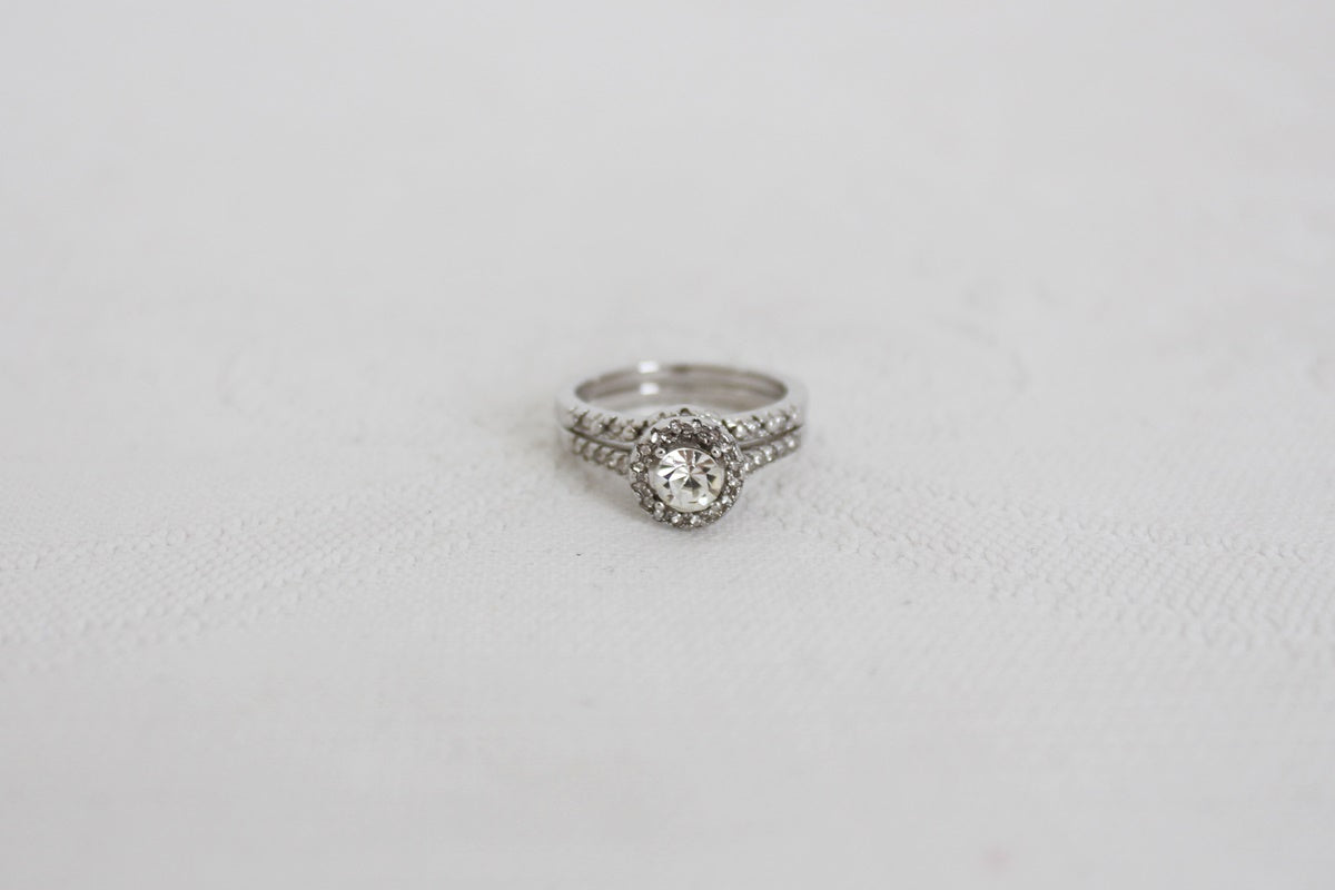 STERLING SILVER CZ ENGAGEMENT WEDDING RING SET - SIZE L
