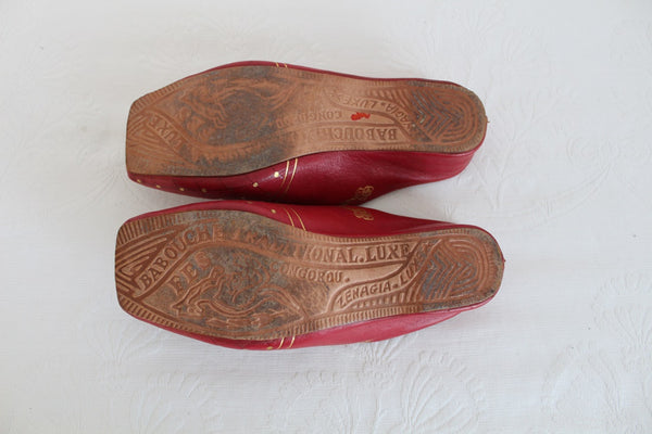 BABOUCHE TRADITIONAL LUXE RED LEATHER MOROCCAN SLIPPERS - SIZE 7
