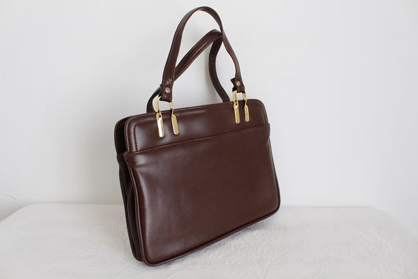 VINTAGE BROWN FAUX LEATHER KELLY BAG