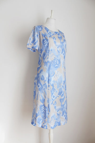 VINTAGE PASTEL BLUE ABSTRACT PRINT SHIFT DRESS - SIZE 14
