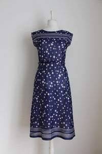 VINTAGE POLKA DOT NAVY WHITE TIE DRESS - SIZE 8