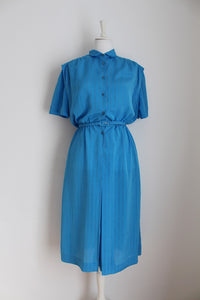 VINTAGE BLUE PINSTRIPE BUTTON DOWN DRESS - SIZE 12