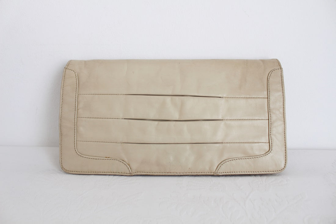 VINTAGE GENUINE LEATHER BEIGE CLUTCH BAG