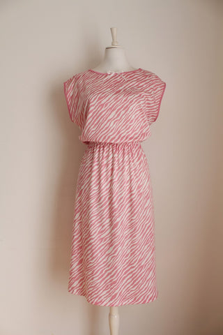 VINTAGE PINK ZEBRA PRINT DRESS - SIZE 18