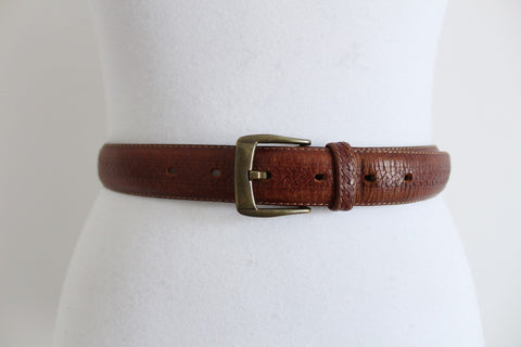 VINTAGE TAN GENUINE LEATHER EMBOSSED WAIST BELT